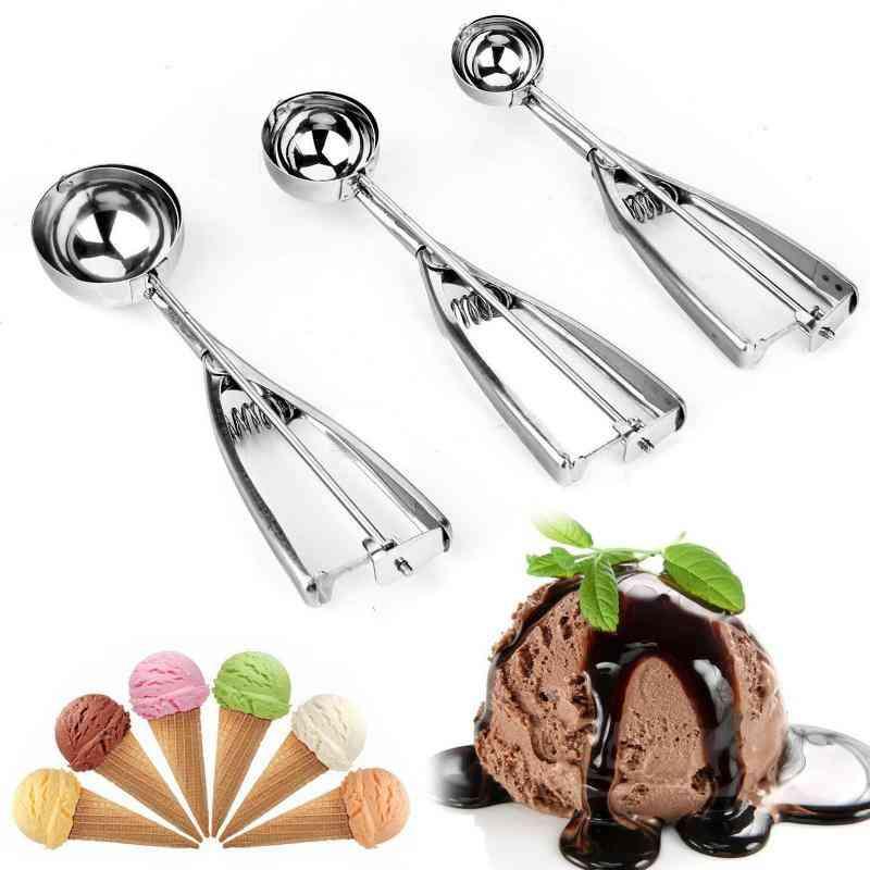 Ice Cream Spoon, Stainless Steel Spring Handle Cookie Scoop