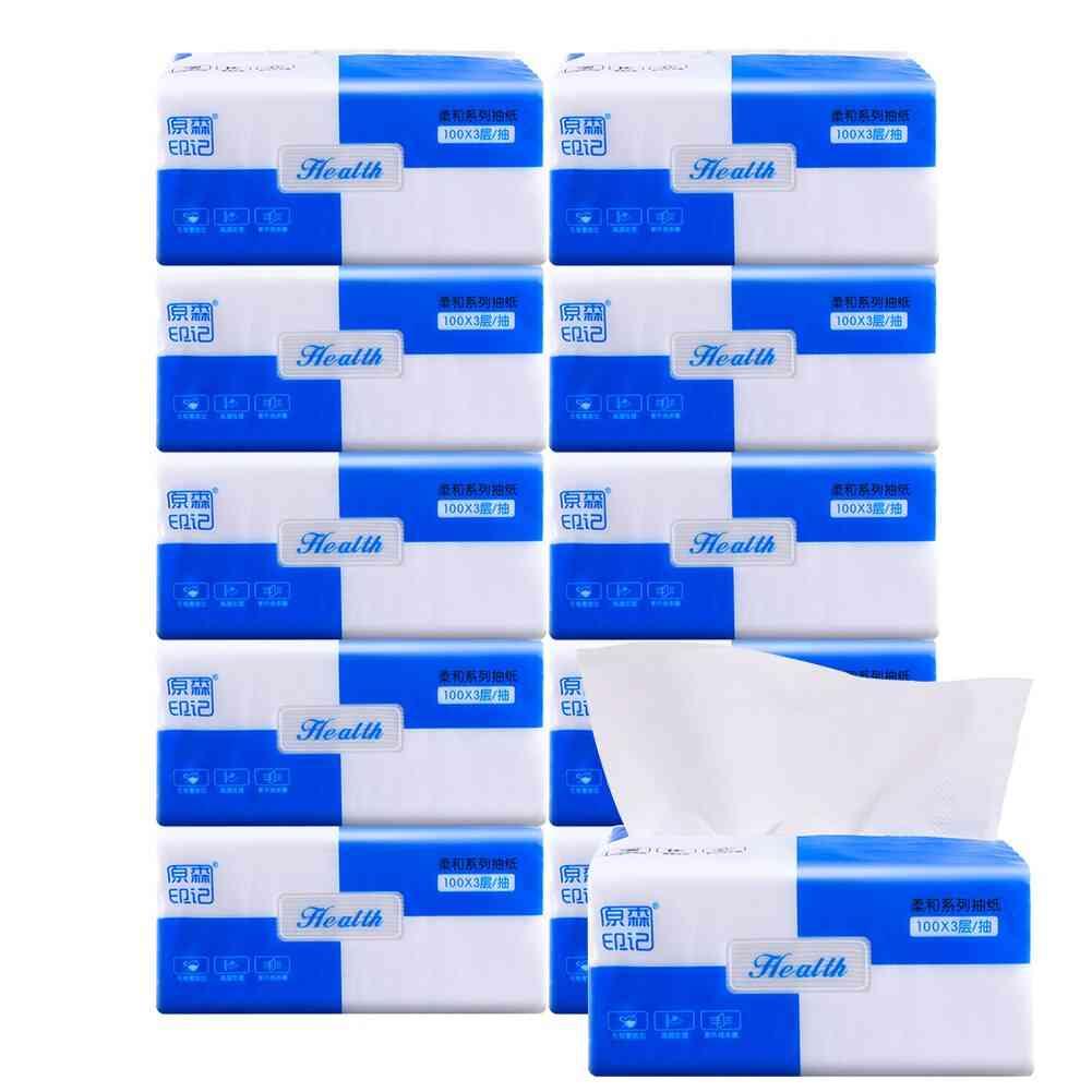 300 Sheets- Soft Disposable, Wood Pulp 3-ply, Facial Tissues, Skin Napkin Paper