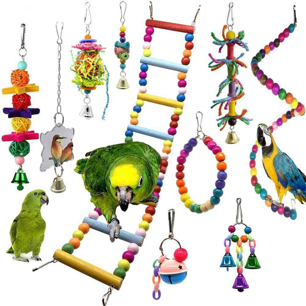 Small Parrot Hanging Hammock Parrot-cage Perch With Wooden Beads