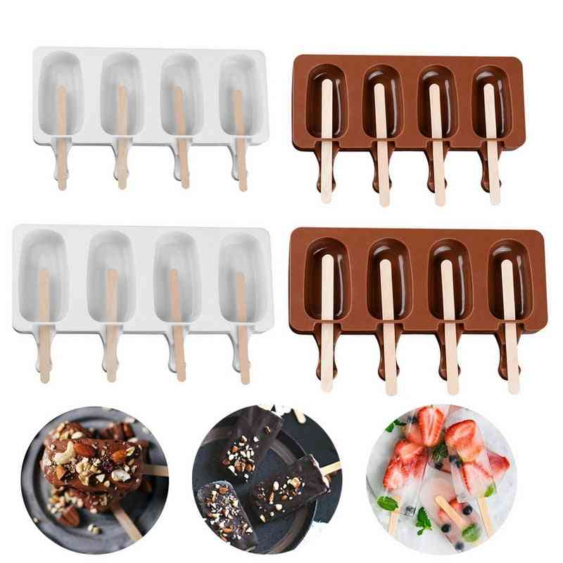 Food Grade Silicone Ice Cream Molds With Popsicle Sticks