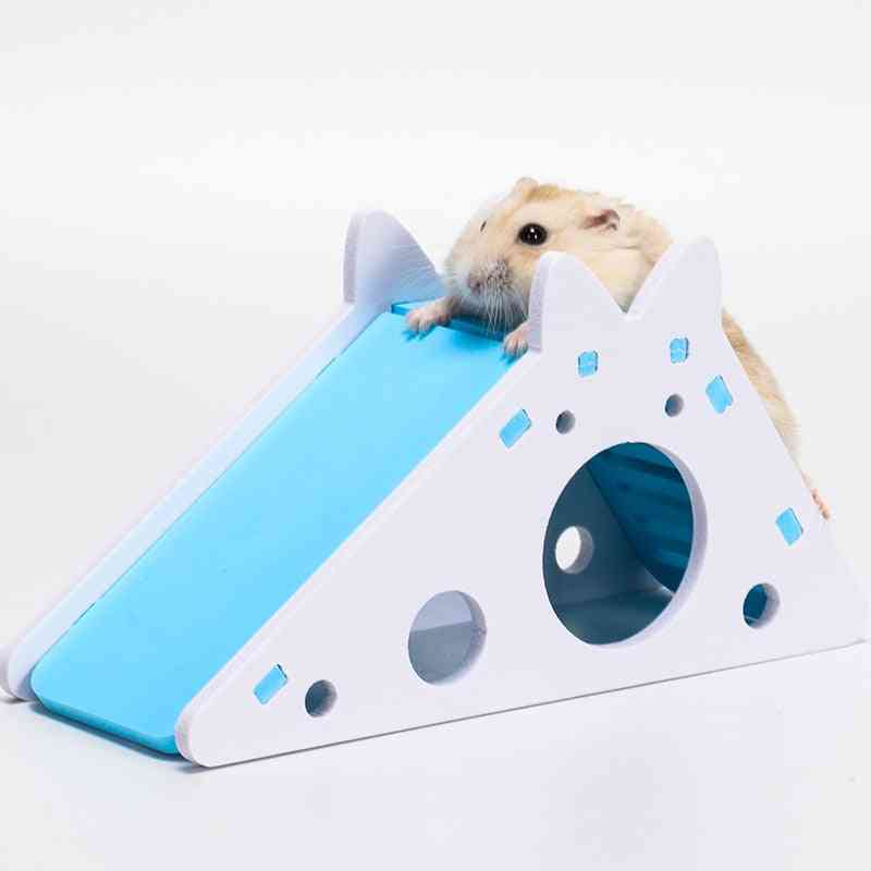 Cute Hamster Exercise & Toy Wooden House With Ladder Slide