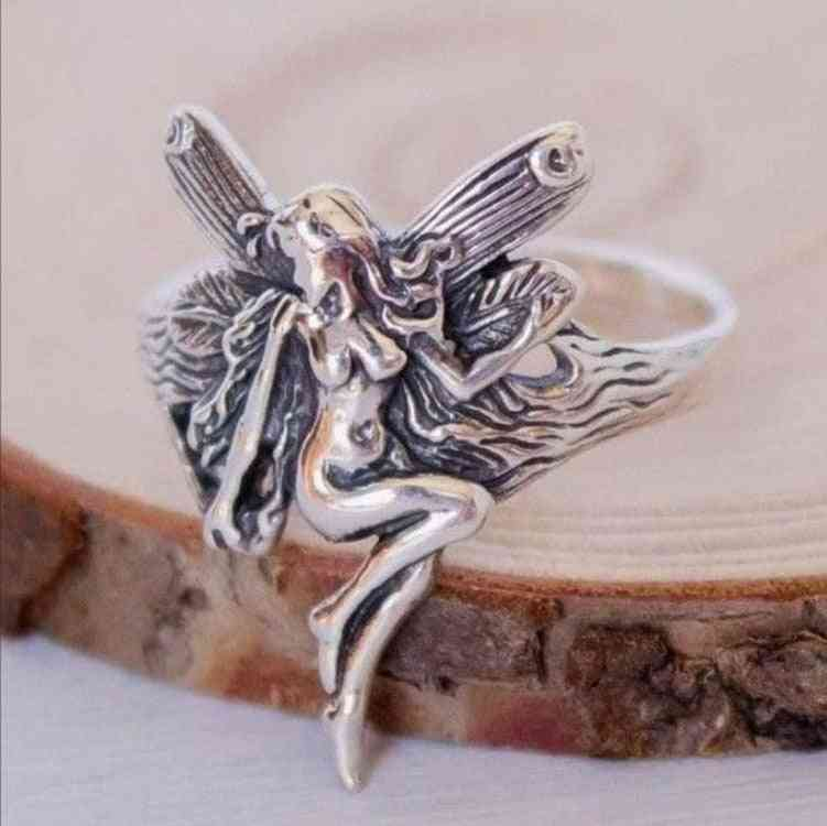 Vintage- Silver Plated, Gothic Steampunk, Angel Wings Ring