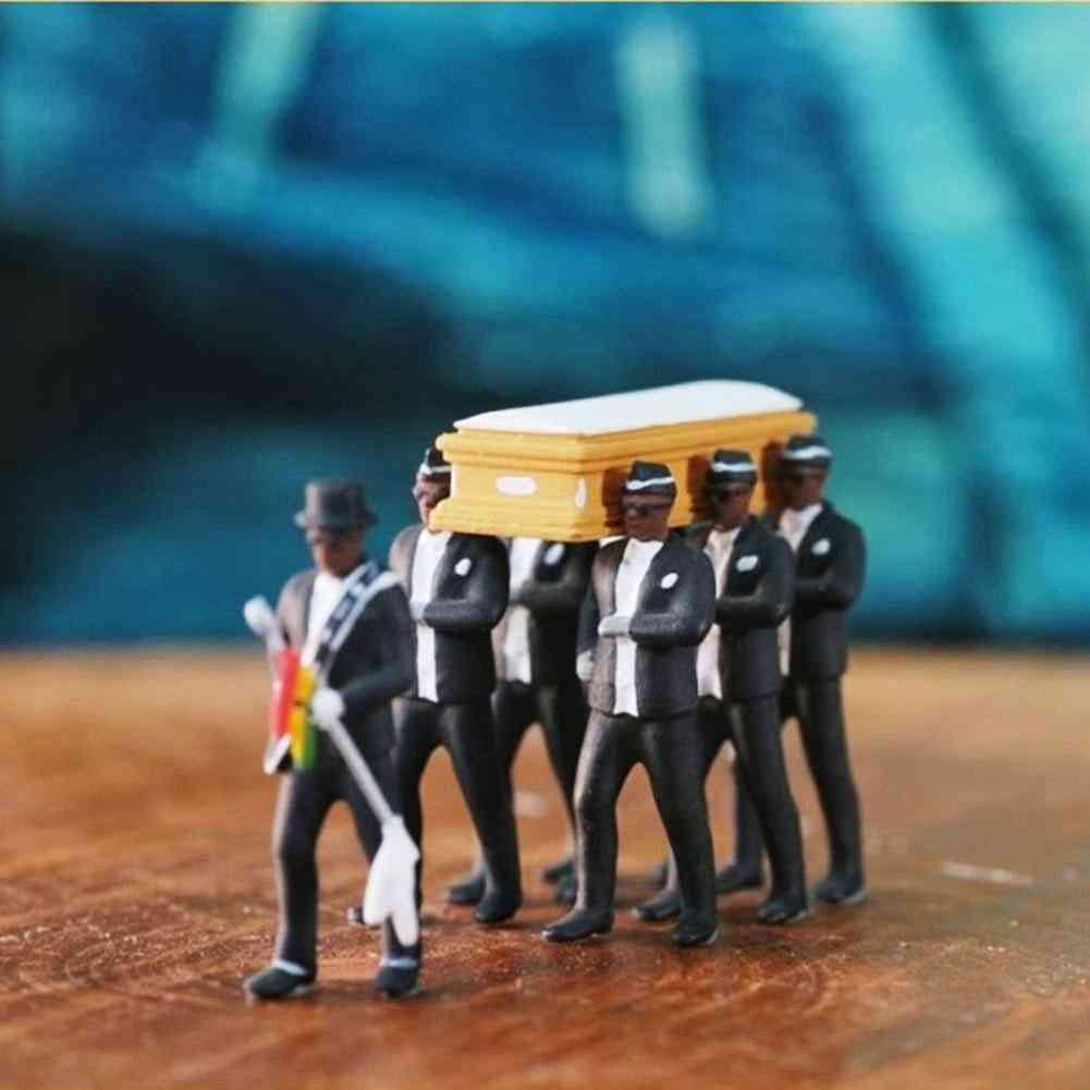 High Simulation Plastic Ghana Funeral Coffin Dancing Pallbearer Team Model
