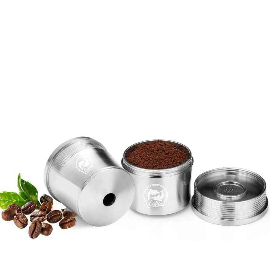 Coffee Machine Refillable Filters, Reusable Metal Capsule & Tamper Spoon