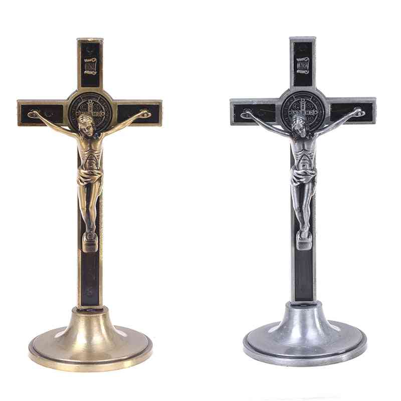 Jesus Stand Cross Wall- Crucifix Antique, Church Relics