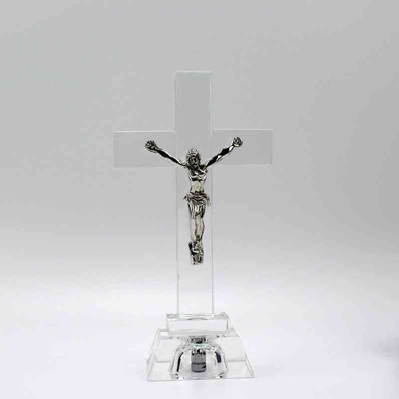 Nightlight Jesus Statue, Religious Style, Crystal Cross