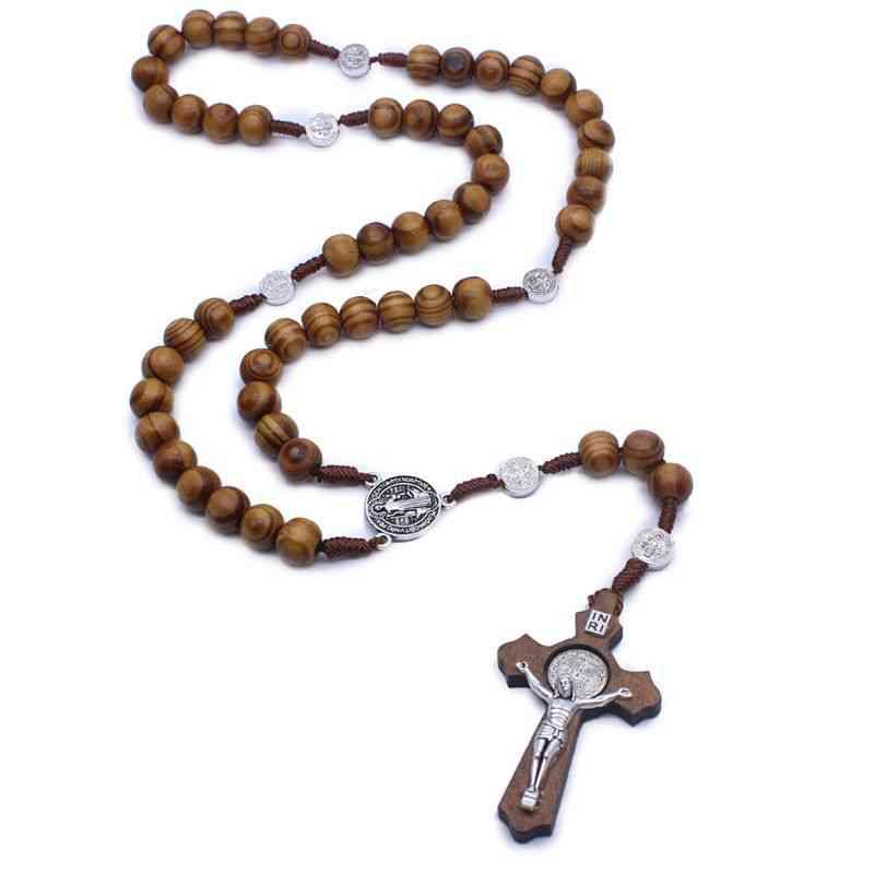 Round Catholic, Rosary Cross Religious, Beads Necklace