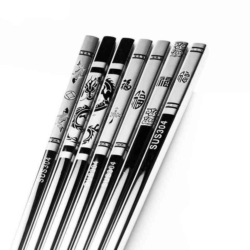 Stainless Steel- Anti Skid Dragon Chopsticks