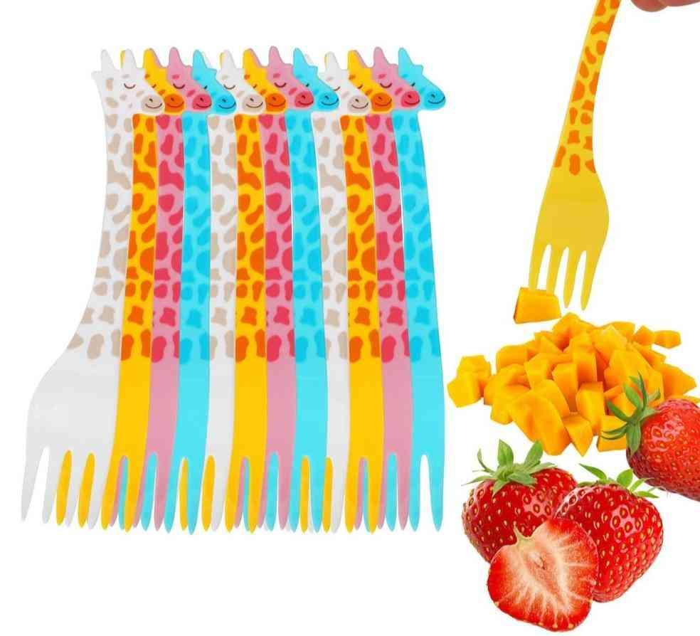 Cartoon Giraffe Shape Food Picks Salad Desert Forks