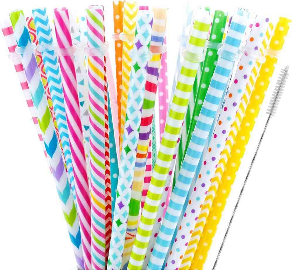Reusable Printing Hard Plastic Stripe Drinking Straw