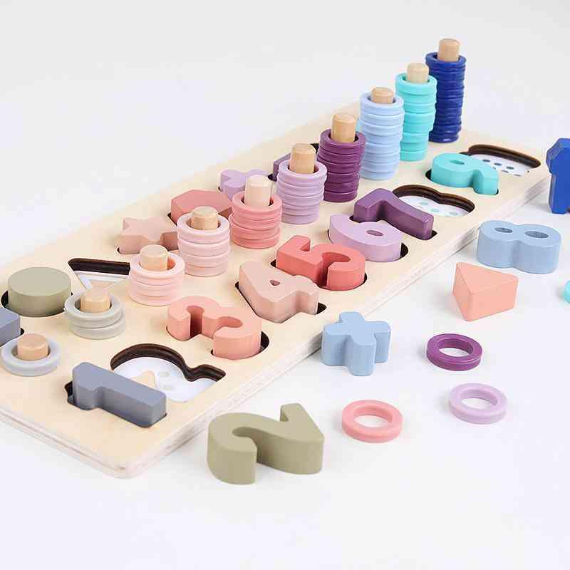 Preschool Wooden Montessori, Geometric Shape Cognition, Match Educational