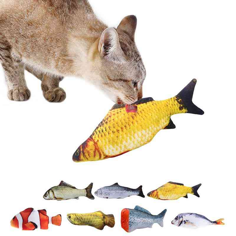 3d-fish Shape, Interactive Catnip, Stuffed Pillow Doll Playing Toy For Pet