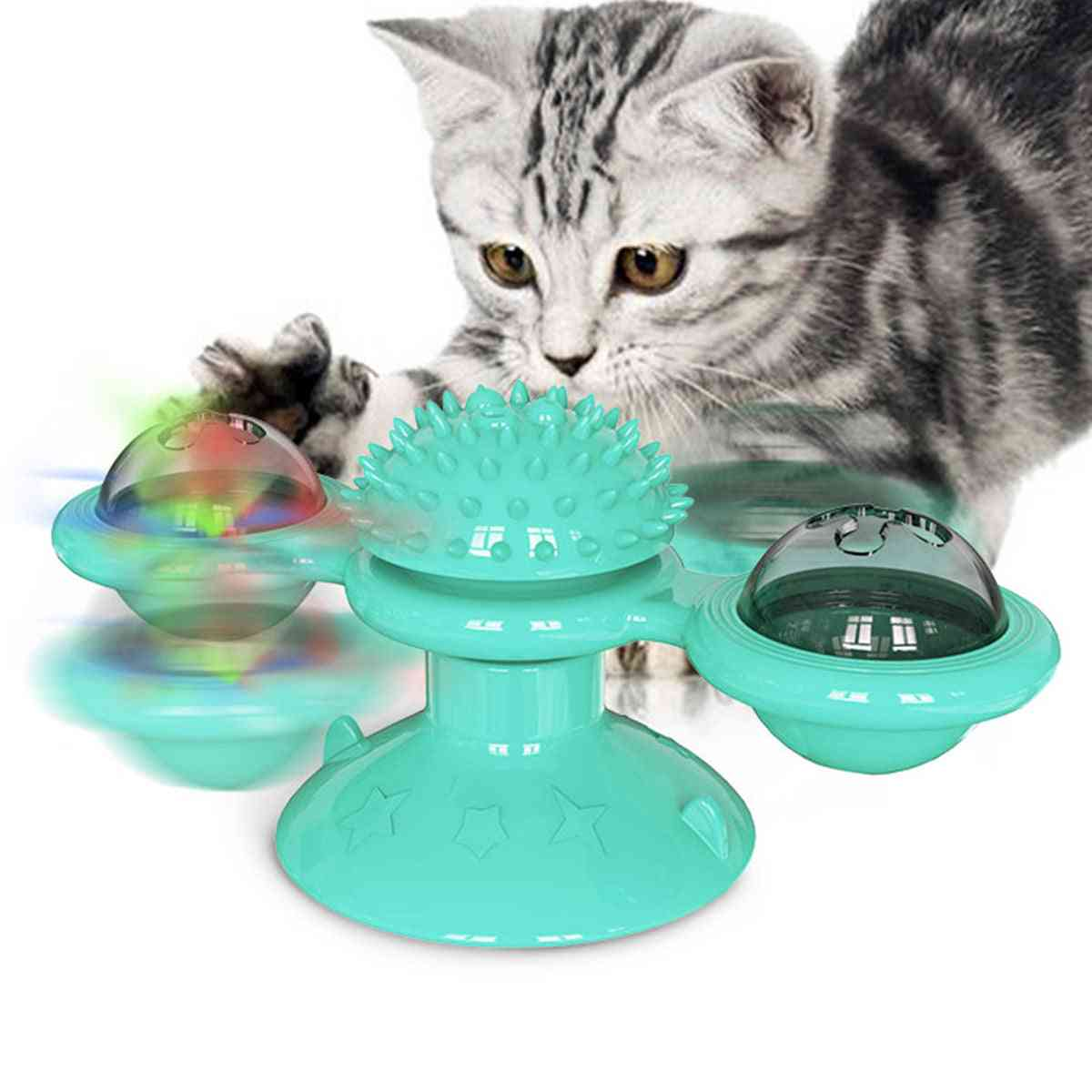 Cat Windmill Massage, Rotatable With Catnip Led Ball For Teeth Cleaning