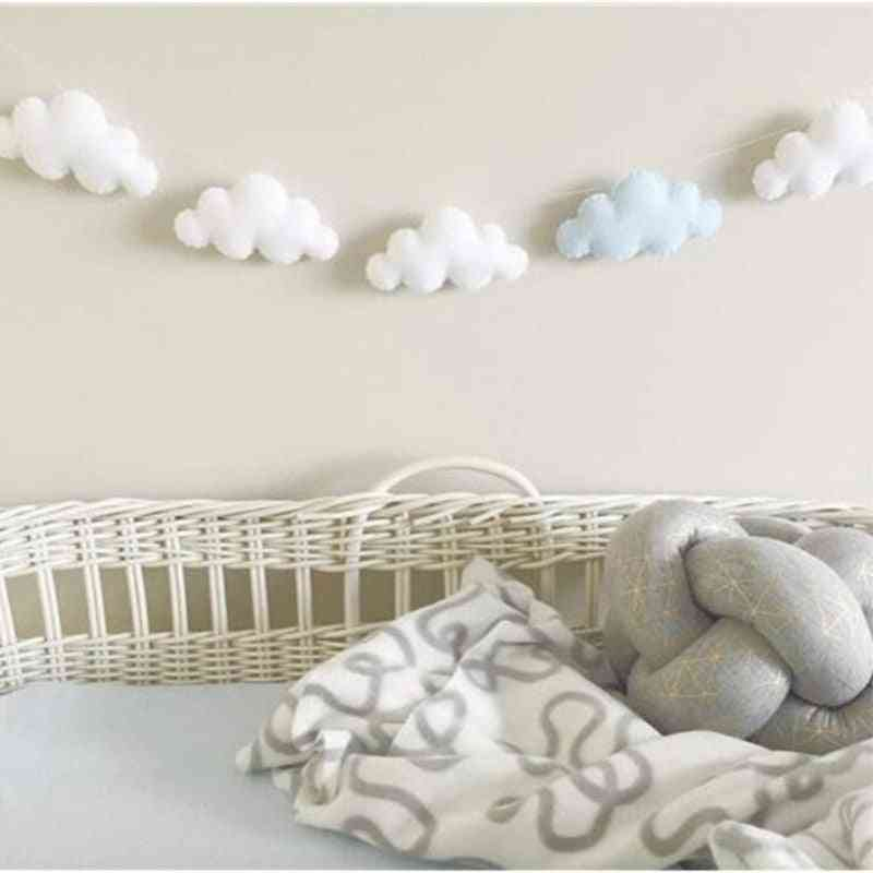 Felt Cloud- Garland String Wall Hanging, Ornaments Nordic Bed