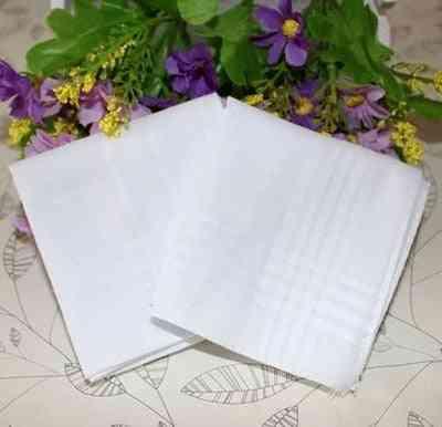 Pure White- Cotton Plain, Print Draw Handkerchiefs, Women (white)