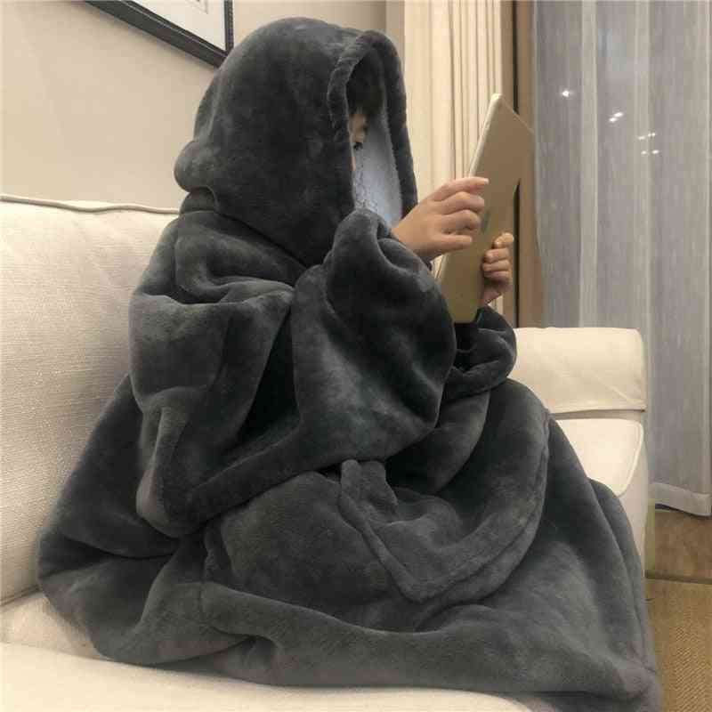 Sofa Cozy Coral Fleece Hoodie Blanket For Adults Kids