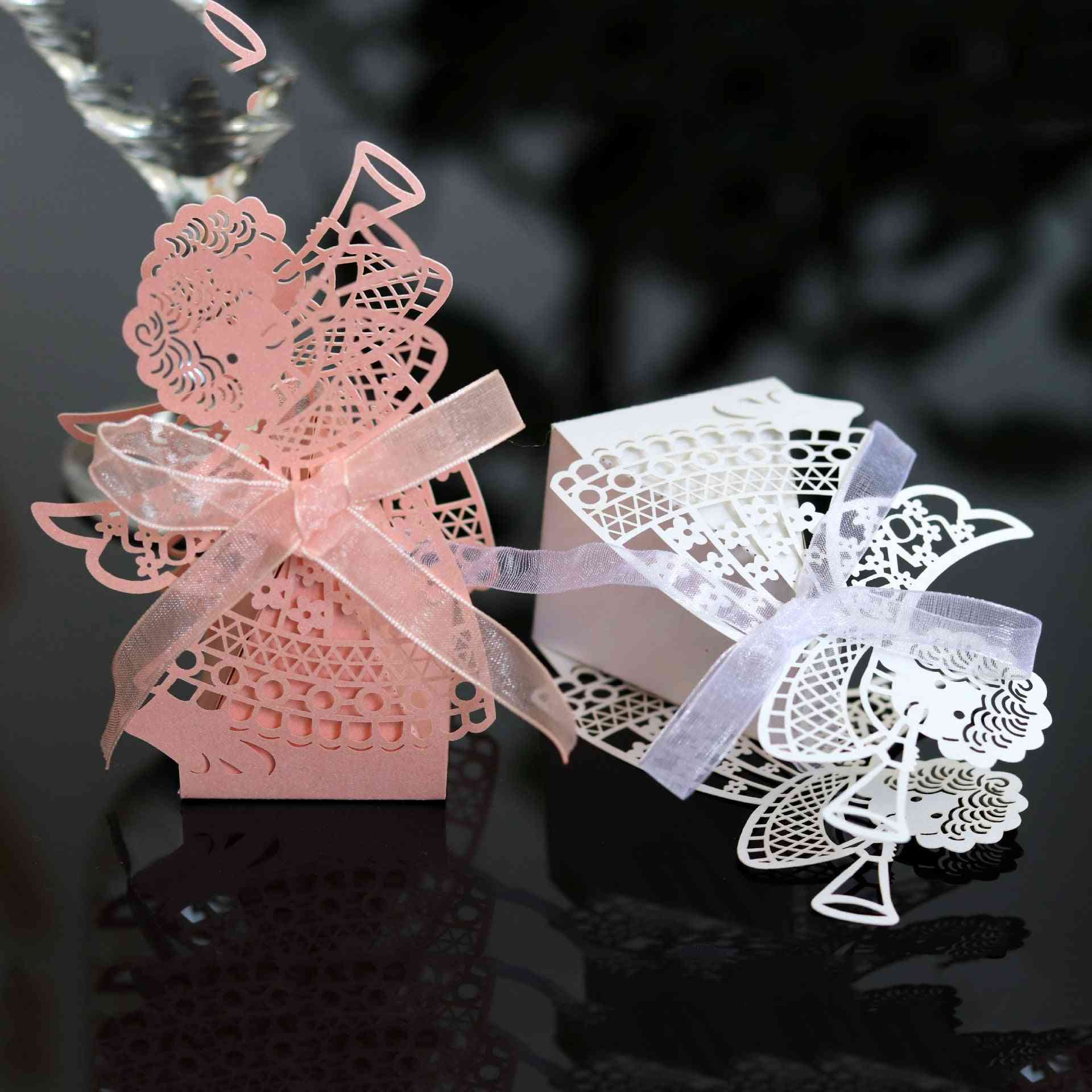 Angel Girl Laser, Cut Hollow Carriage, Favor Candy Boxes With Ribbon