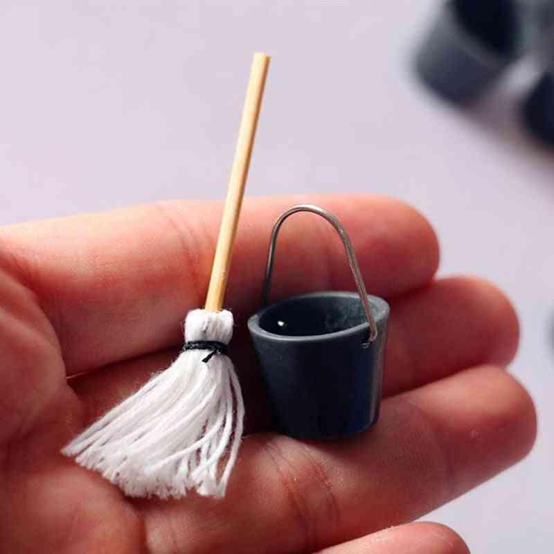 Dollhouse Miniature Resin Mop Bucket, Classic Pretend Play