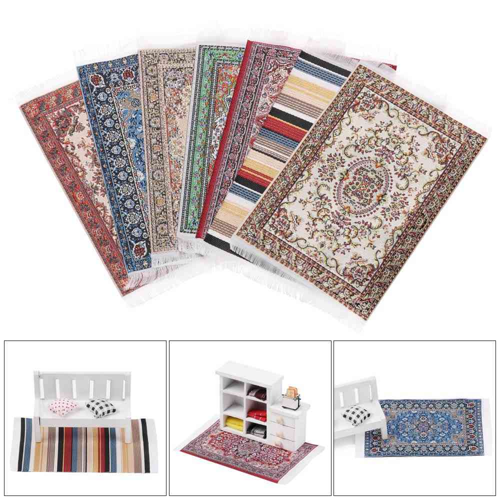 Turkish Style- Carpet Floral Mat, Playing House Coverings, Miniature Weaving Rug Accessories