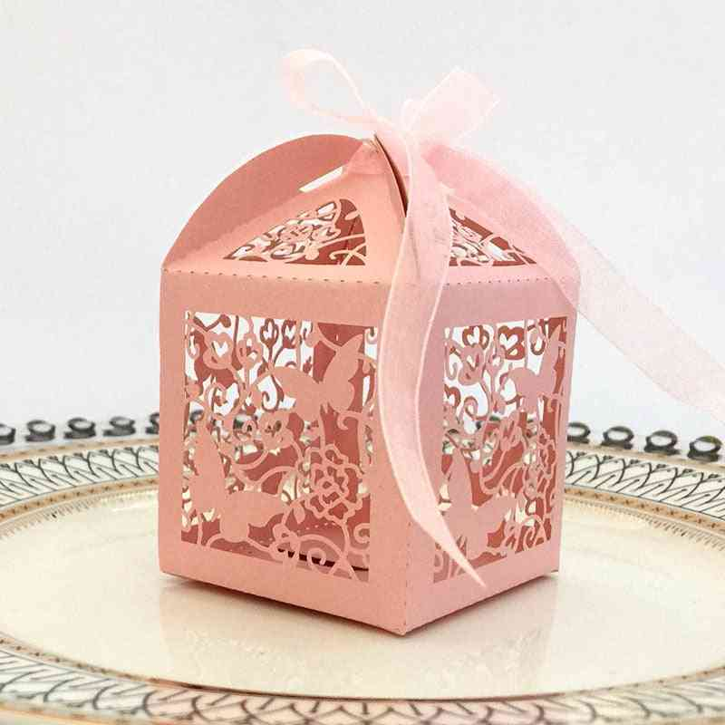 Laser Cut Hollow Butterfly Carriage Candy Boxes With Ribbon