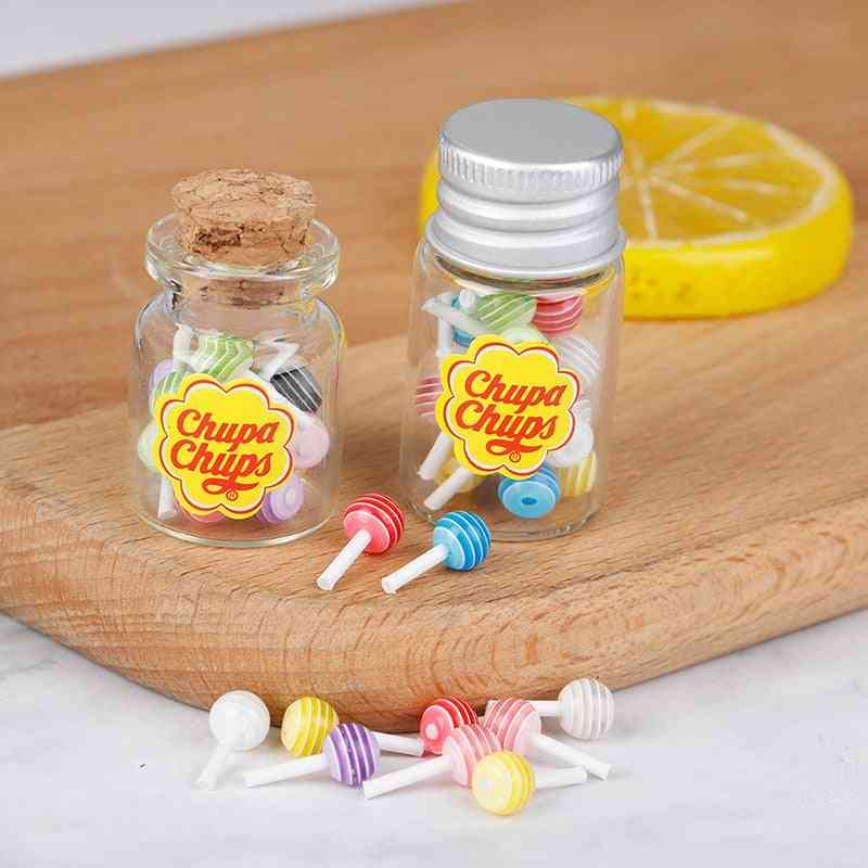 Mini Lollipops With Case Holder Candy For Doll House, Kitchen Furniture