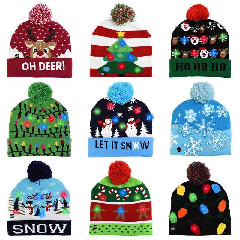 Led Christmas Hat, Light Up Knitted Hats