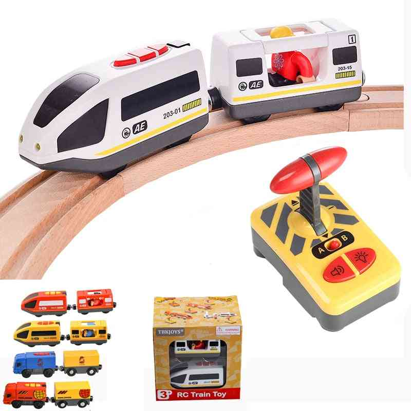 Rc Electric Train Set With Carriage Sound And Light,  Express Truck, Fit Wooden Track