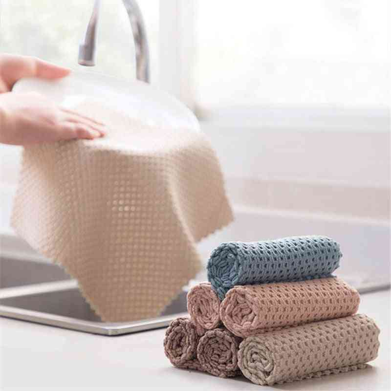 Anti-grease Wipping Rags, Microfiber Cleaning Cloth Towel For Kitchen