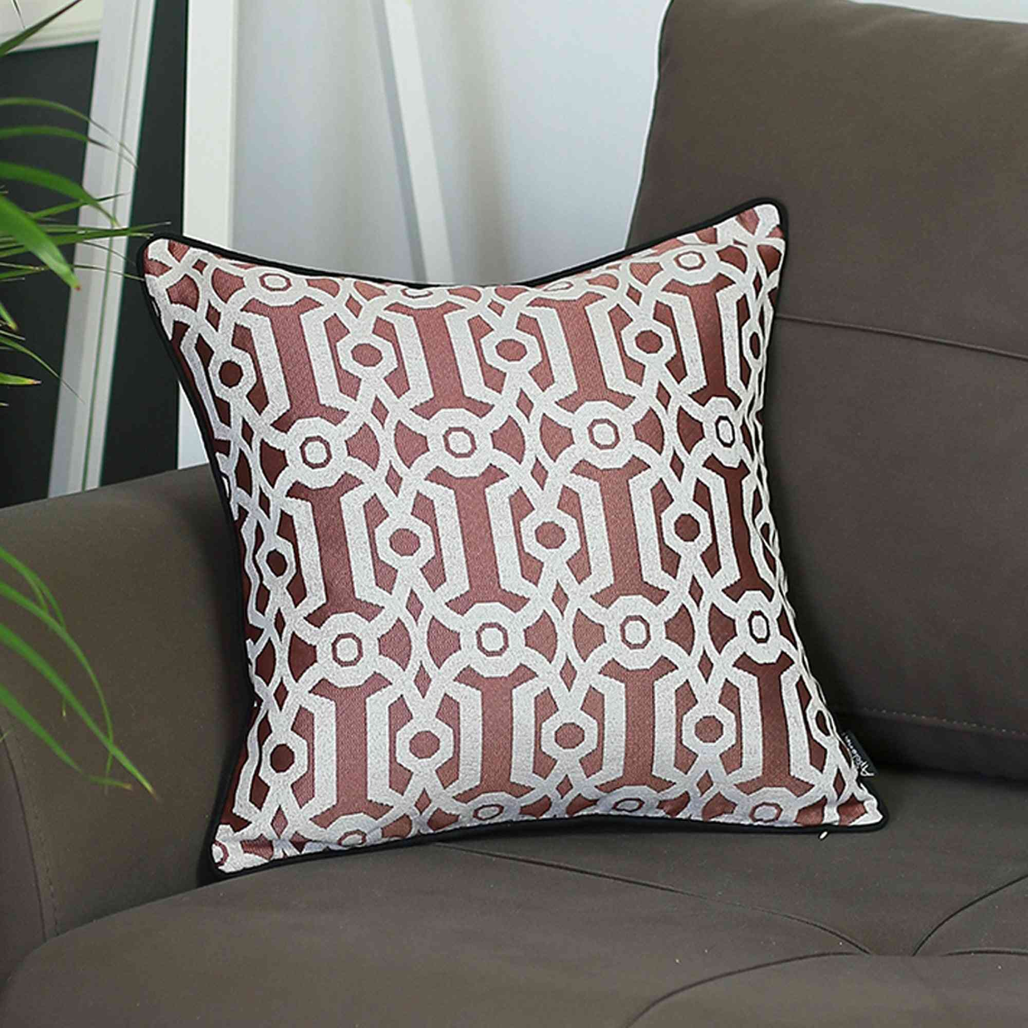 Jacquard Red Geo Square - Pillow Cover