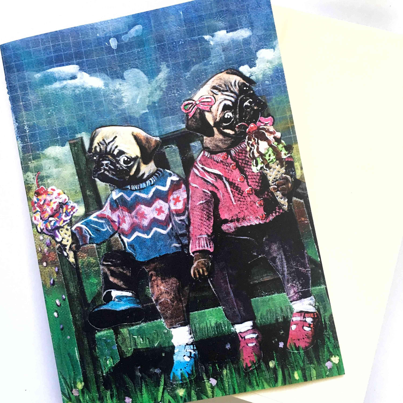 Ice Cream Pugs - Love Card