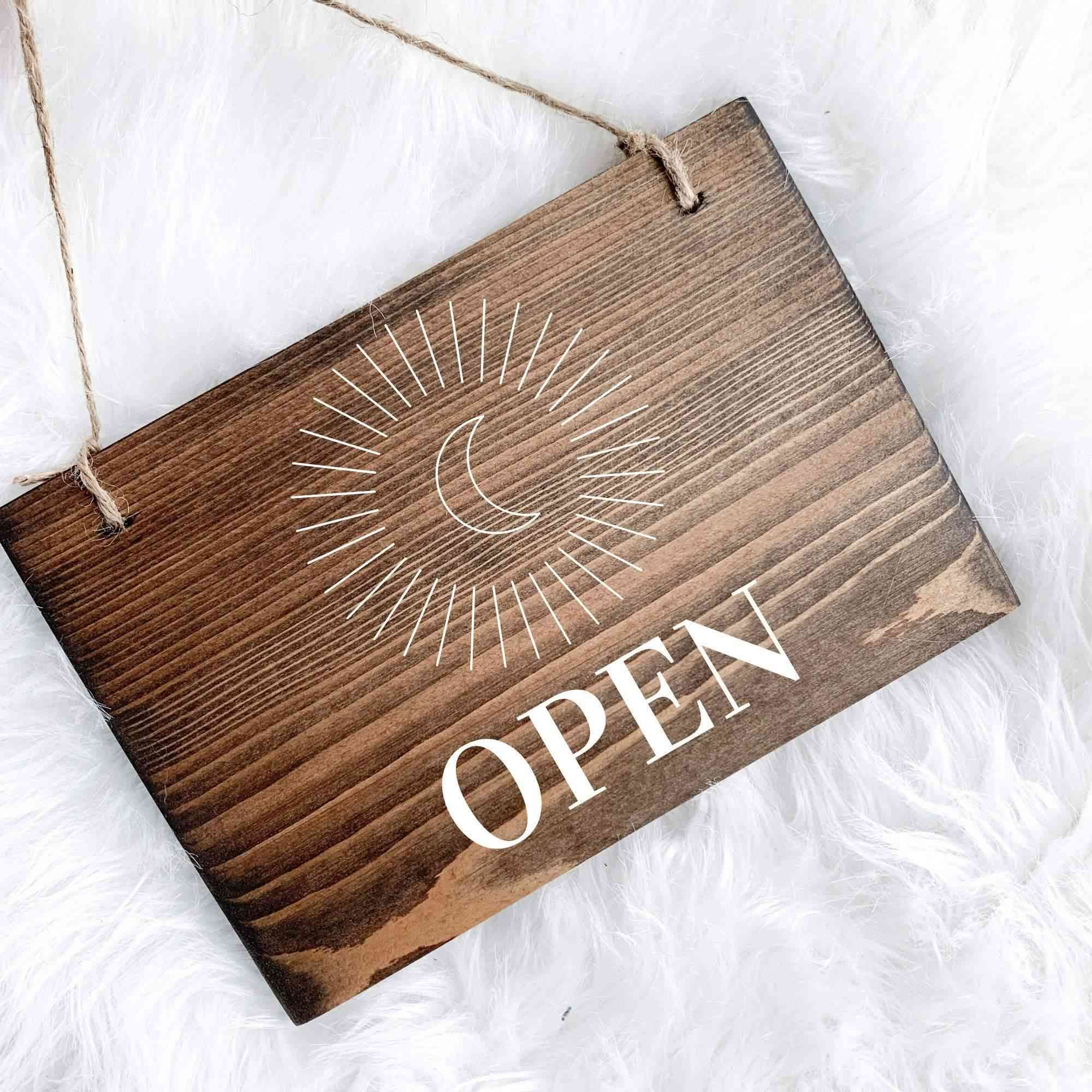 Open & Closed Sign - Wood Sign
