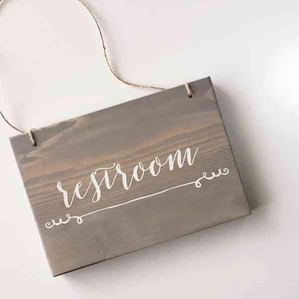 Restroom, Washroom, Bathroom - Hanging Wood Sign