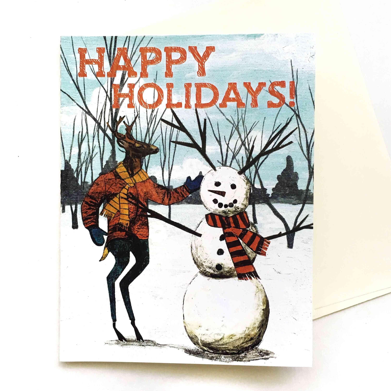 Happy Holidays Snowman Deer Card