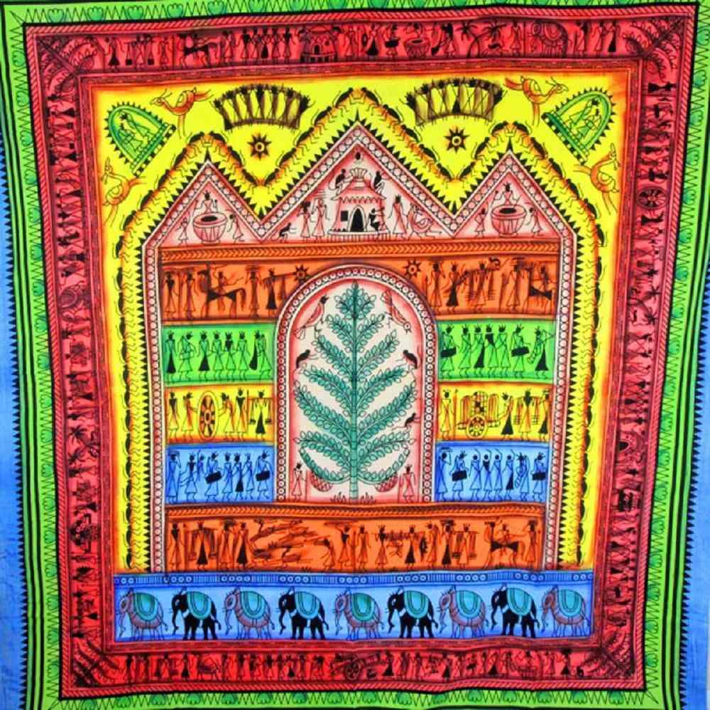 Harmonious Tribal Village Tapestry