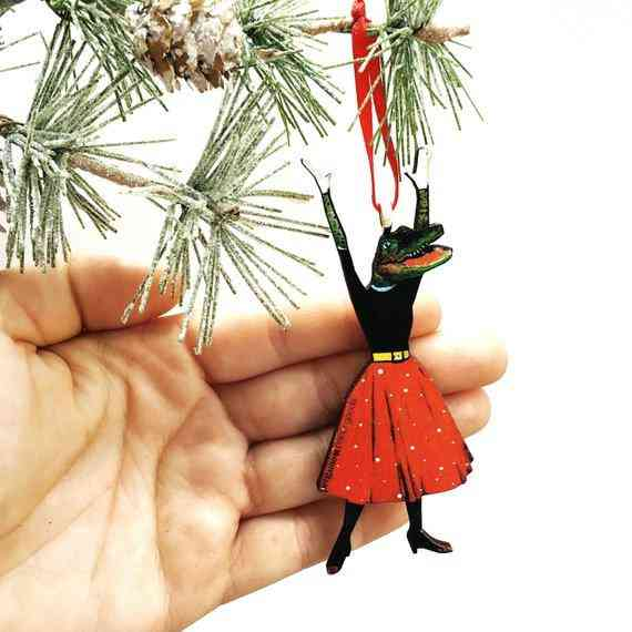 Excited Alligator Lady Christmas Ornament