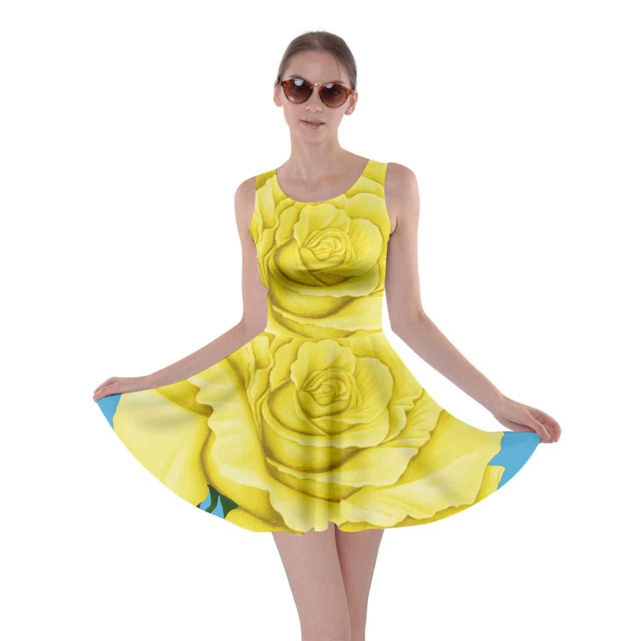 Yellow Aqua Rose Skater Dress