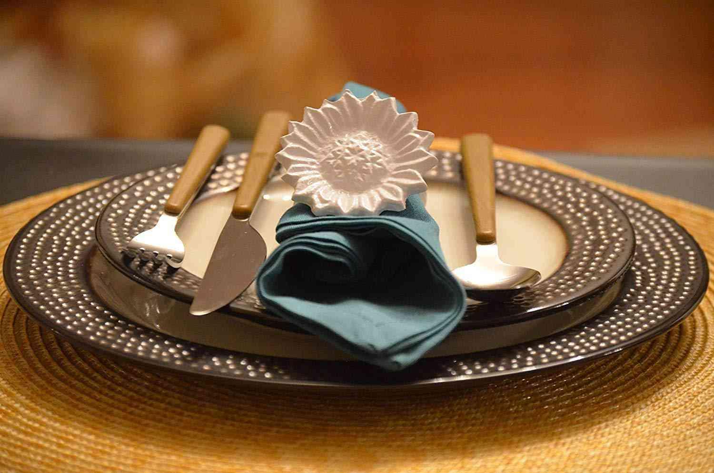 Sunflower White Napkin Rings  - Home Decor