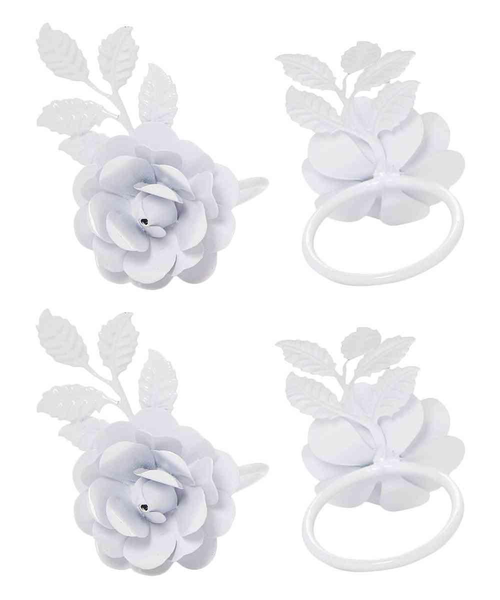 White Rose Set Of 4 Napkin Rings - Home Decor