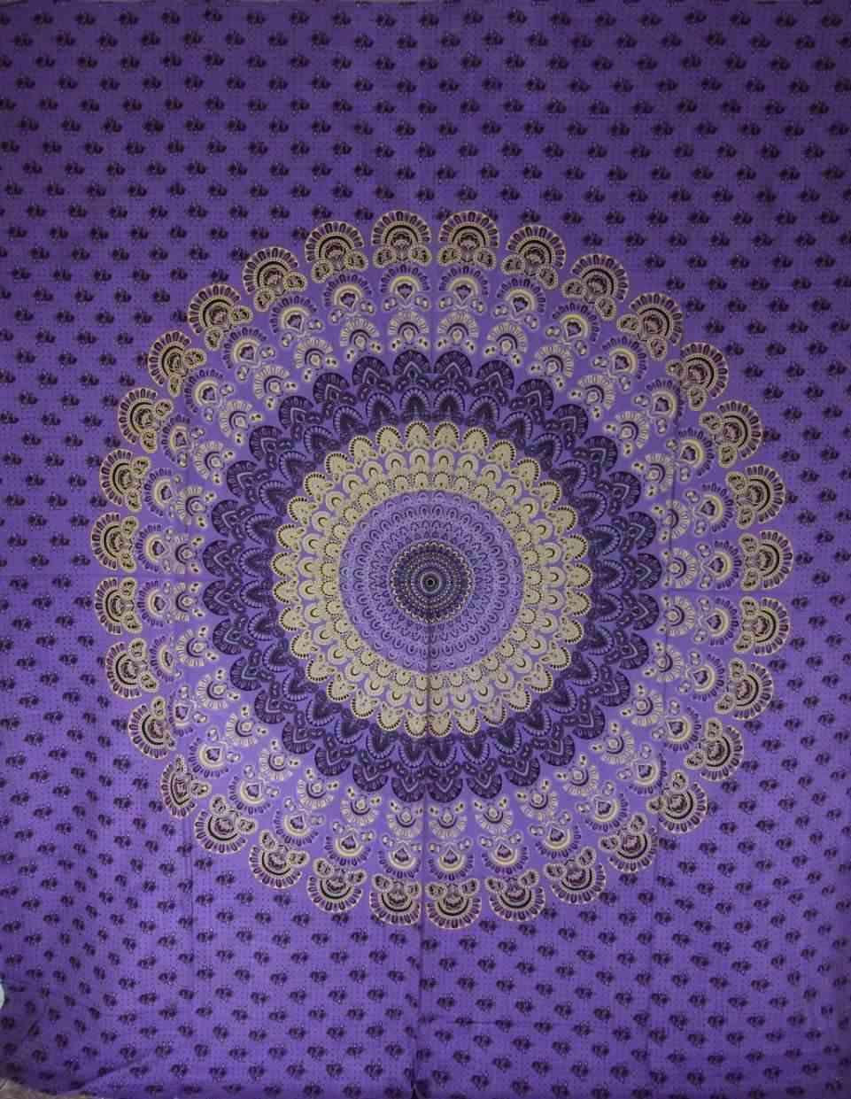 Purple Peacock Mandala Tapestry