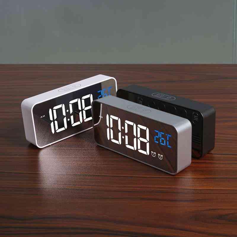 Led Digital Alarm Clock Intelligent Voice Control With Snooze
