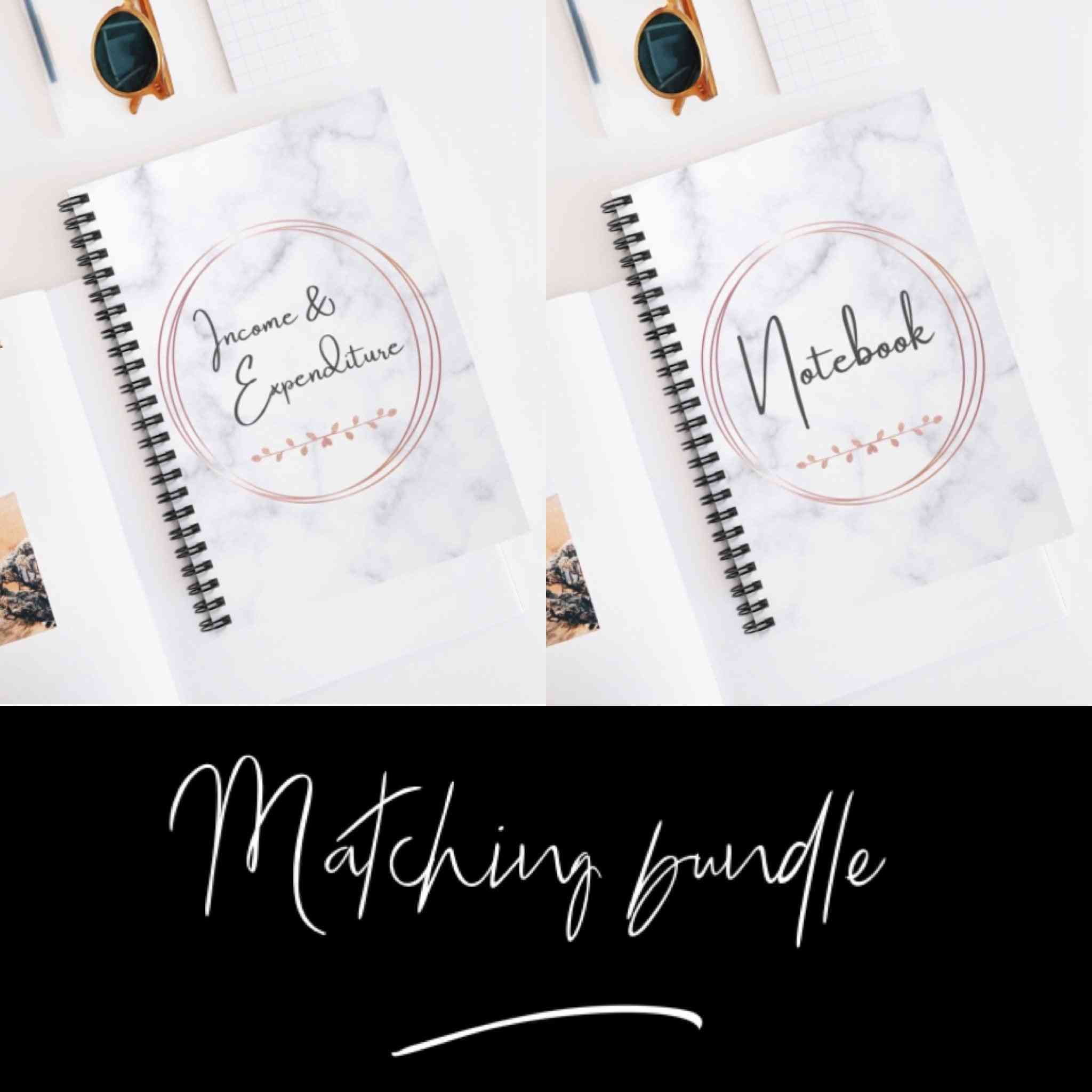 Matching Marble Income And Expenditure Notebook