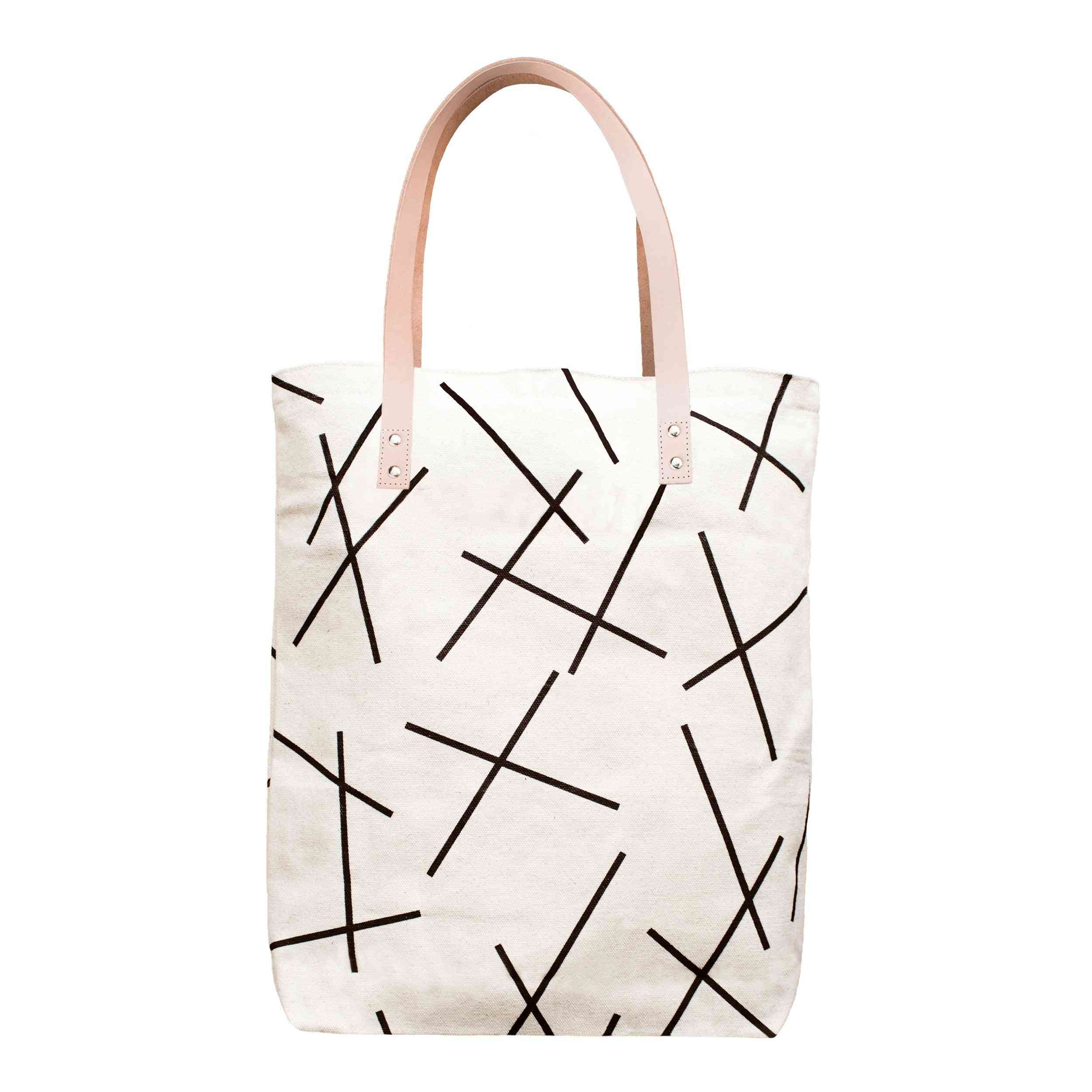 Cotton Canvas Tote Bag With Leather Straps