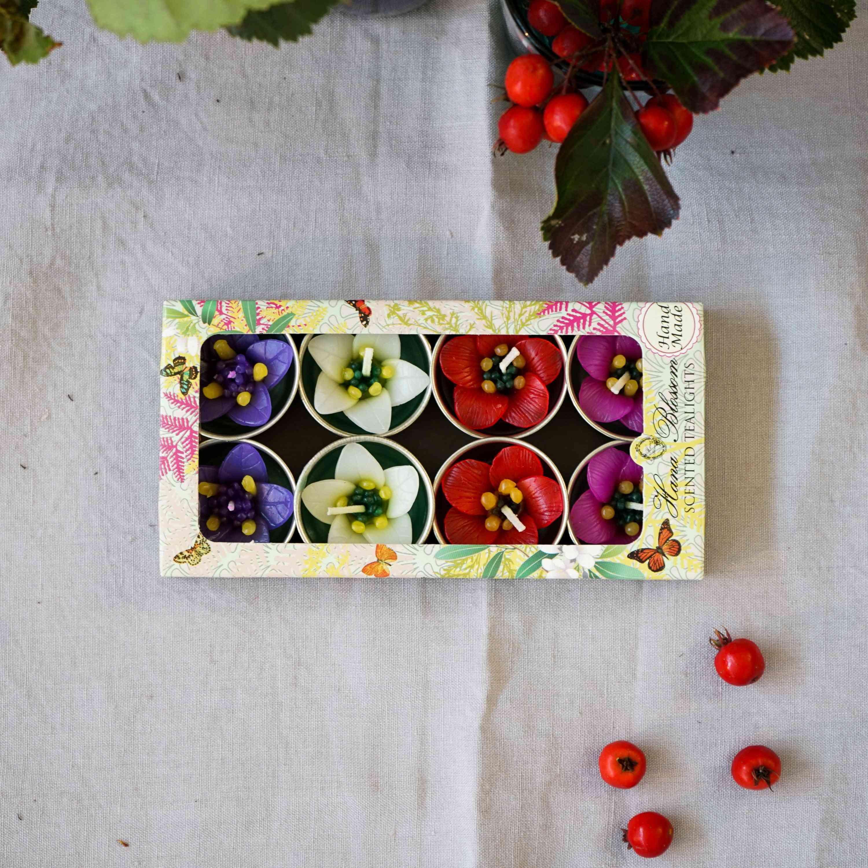 Four Colour Garden Flower Scented Tealights