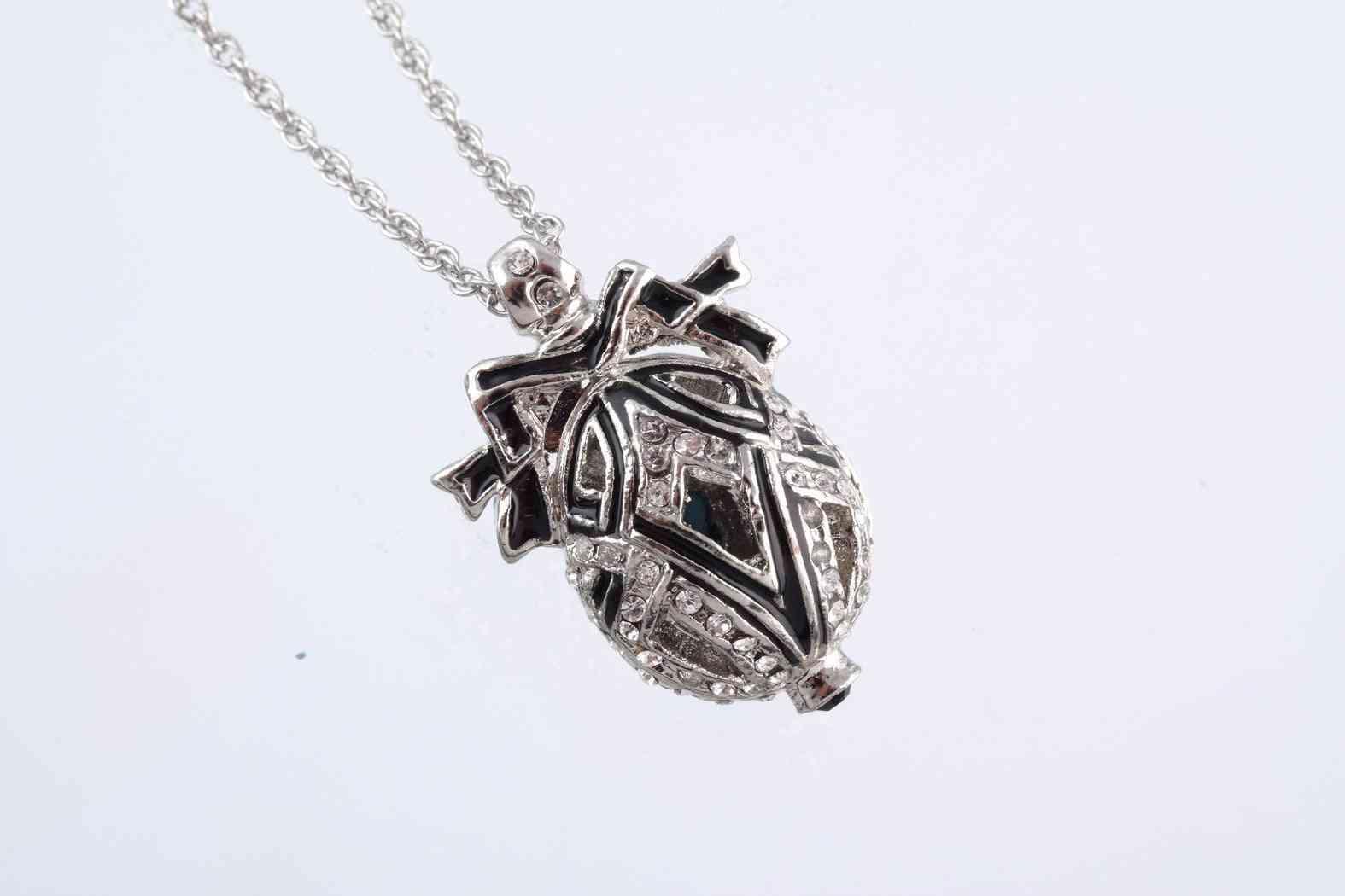 Silver & Black Egg Pendant - Necklace
