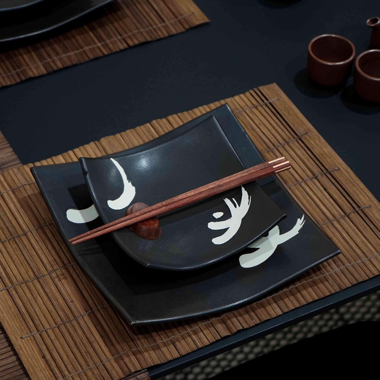 Black With Motif - Dinner Set