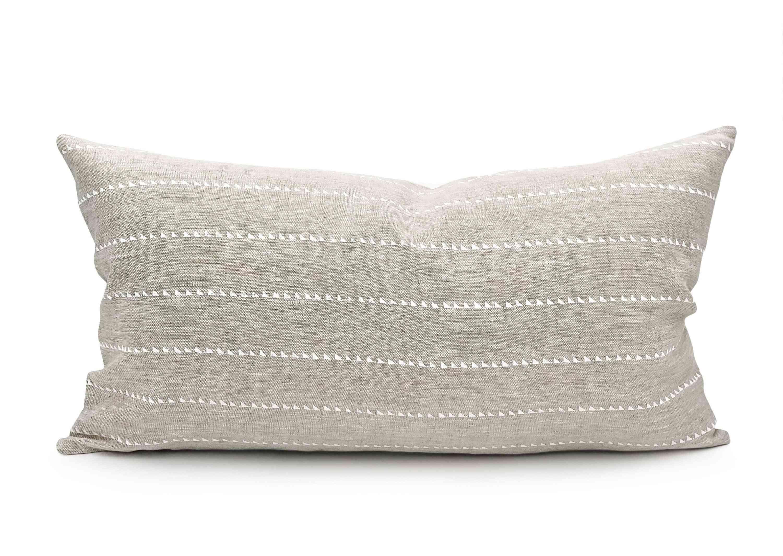 White Stripe On Natural Linen Lumbar Throw Pillow