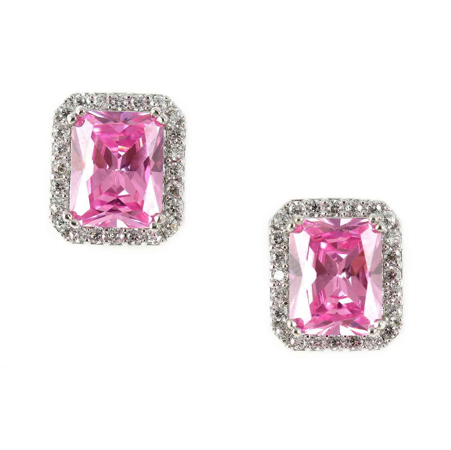 Pink Cubic Zirconia-square Cut Crystal Studs