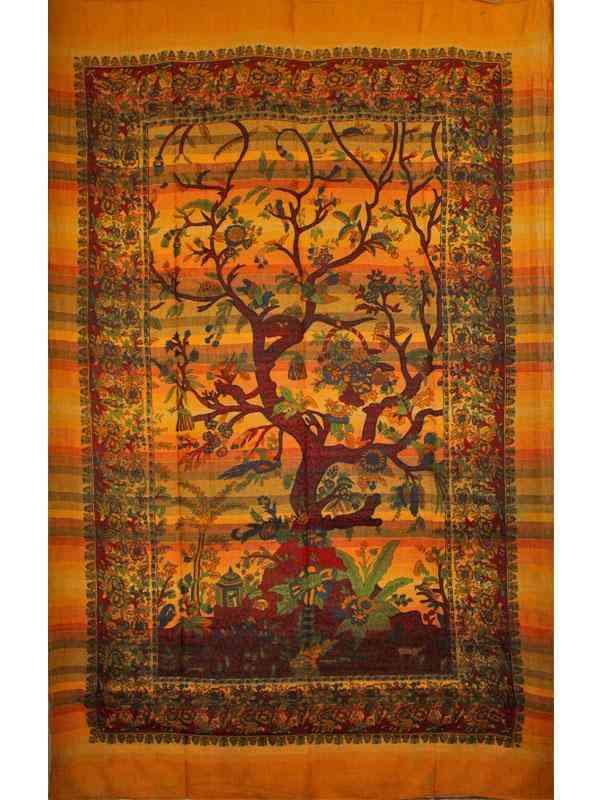 Saffron Tree Of Life-handloom Tapestry