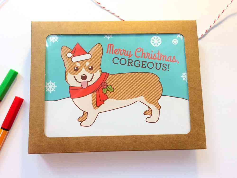 Set Of 6 Corgi Holiday Merry Christmas Cards