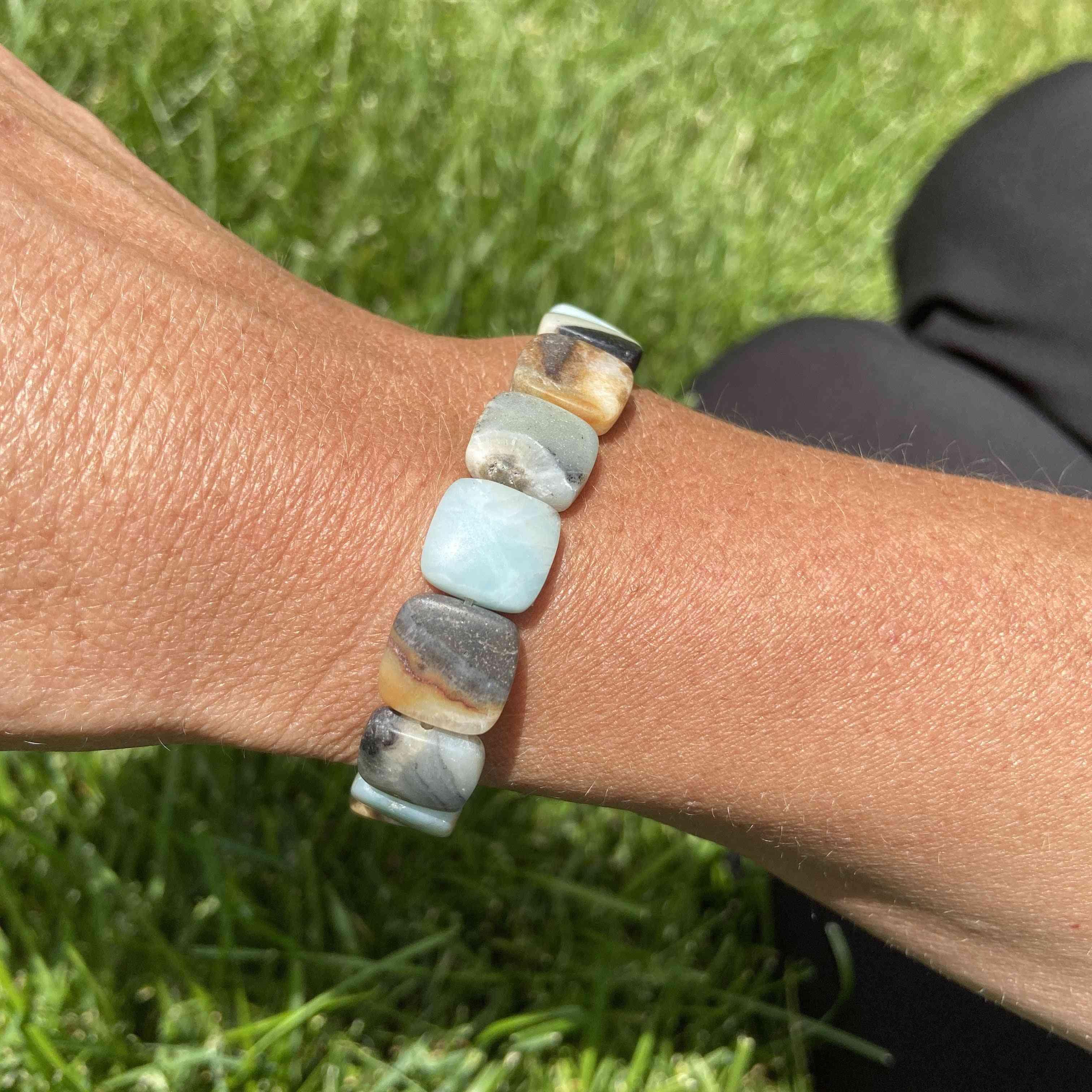 Amazonite Square Bead Bracelet
